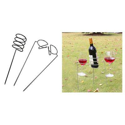 Wine Glass & Bottle Holder Stake Set for Outdoor BBQ Garden Picnic Beach