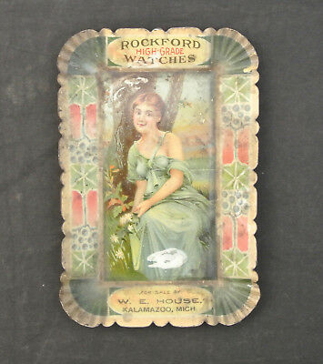 Antique Rockford Watches Tin Litho Tip Tray - W. E. House, Kalamazoo, Michigan