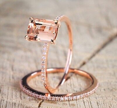 18K Rose Gold Filled Morganite Gem Wedding Ring Set Anniversary Gift Sz 5-10