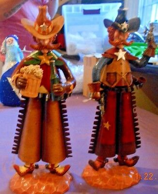 "New Rock'n  Metal Cowboy/sheriff Figurines - 12"" Tall -  Great Bar Decor"