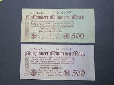GERMANY 9TH ISSUE 1923 500 MILLIARDEN MARK BANKNOTE CURRENCY COLLECTION P-127ab