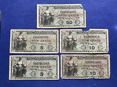 **LOT OF 5** 5c ,10c & 50c (Series 481) Military Payment Certificates