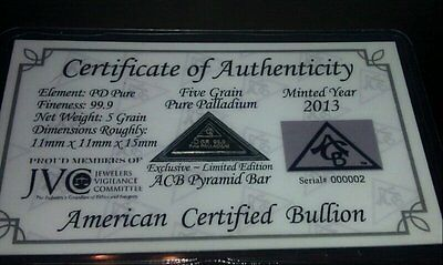 ACB Palladium Pyramid 5GRAIN BULLION MINTED BAR 99.9 Pure Pd WITH Certificate. +