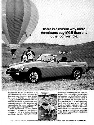 1979 MGB British Leyland Motors Sports Car -Original Magazine Ad-Hot Air Balloon