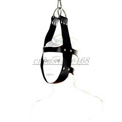 PU Leather Head Suspension Harness Mask Hanger D Ring Restraint Toy Roleplay