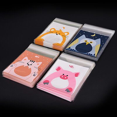 100PCS Cute Animals Candy Biscuits Cookies Mini Packaging Bags Self-adhesive