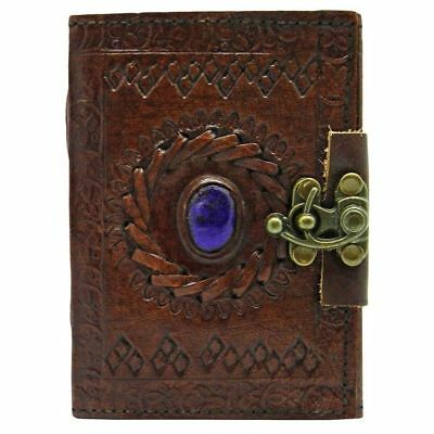 Stone Eye Leather Journal With Lock - Personal Leather Diary Notepad Writing