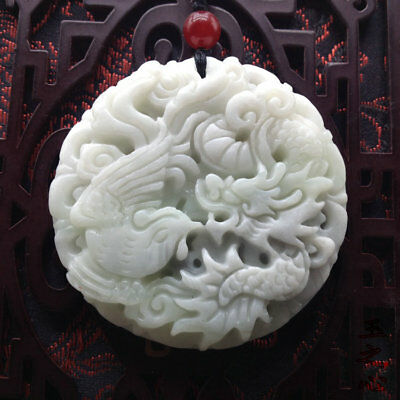 Hot Fashion Natural hand-carved lantian jade dragon phoenix pendant