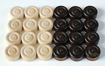 Brand New Set Of 24 Brown And White Draughts/ Checkers Pieces 20Mm