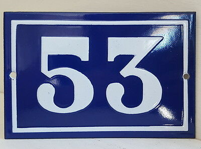 OLD FRENCH HOUSE NUMBER SIGN door gate PLATE PLAQUE Enamel steel metal 53 Blue