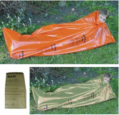 Emergency Survival Shelter Sleeping Bag Cover Sheet Bivvi Bivi Bag Orange Green