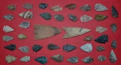 "41 PC Flint Arrowhead Ohio Collection Points 1-3"" Spear Bow Knife Hunting Blade"