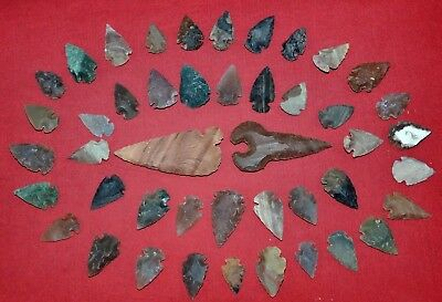 "45 PC Flint Arrowhead Ohio Collection Points 1-3"" Spear Bow Knife Hunting Blade"