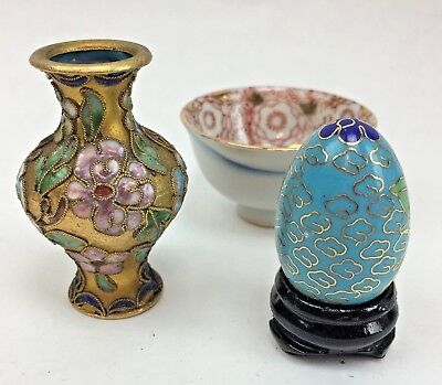 Cloissone Egg on Stand Miniature Cloissone Vase and Gilded Bowl Asian Themed