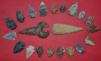"21 PC Flint Arrowhead Ohio Collection Points 1-3"" Spear Bow Knife Hunting Blade"