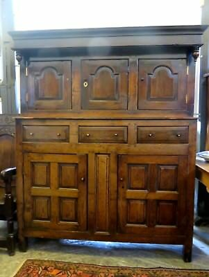 Late 17Th - Early 18Th C Antique Solid Oak Welsh Dresser Cabinet Circa 1680-1720