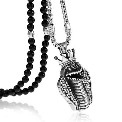 """Egyptian Crown Cobra full Crystal Pendant Necklace with Agate Stone Chain 26"""""""
