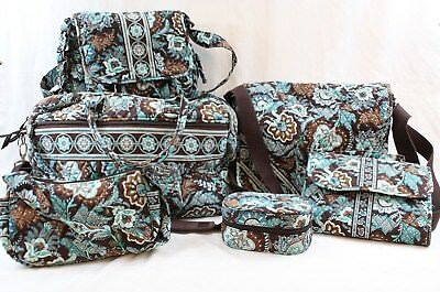 VERA BRADLEY Java Blue Quilted Weekender Messengers Travel Case - You Choose