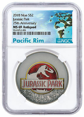 2018 Niue Jurassic Park 25th 1 oz Silver Colorized Antiqued $2 NGC MS69 SKU52363