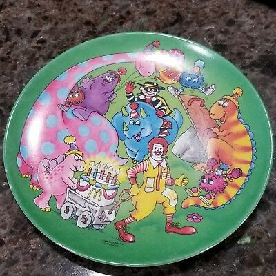 "Ronald McDonald Birthday Party Plate Grimace Hamburglar Dinosaurs 7"" 1986"