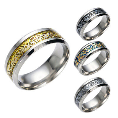 Men's Gold Blue Black Celtic Dragon Titanium Silver Steel Wedding Band Rings