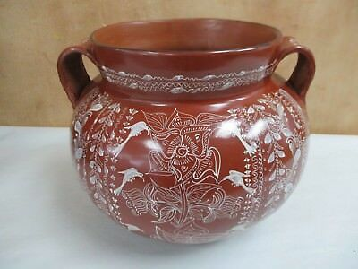 """Vintage Mexican Pottery Vase Handpainted W/ Birds Pottery Vase 8.5"""" X 11"""" W"""