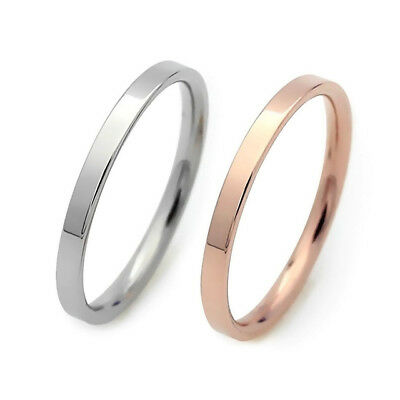 Ladies Mens 3mm Silver or Rose Gold Tone Stainless Steel Wedding Band Ring