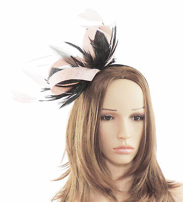 Pink Black Fascinator Hat for Weddings/Ascot/Proms With Headband T6