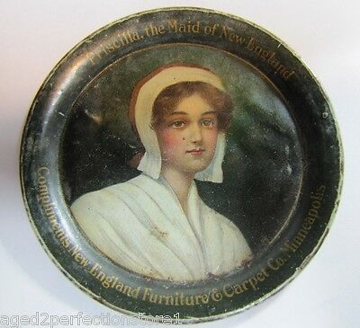 Antique NEW ENGLAND FURNITURE & CARPET Co Tip Card Tray PRISCILLA Maid of NE