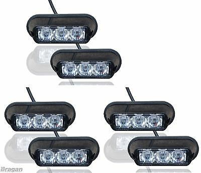 6x White Strobe Flashing LED Lights Breakdown Recovery Lorry Truck Lamps