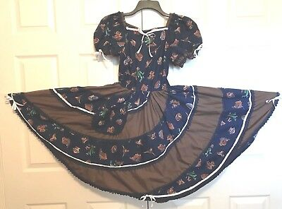 Square Dance Dress Navy Blue And Brown Cowboy Boots & Saddles & White Bows M