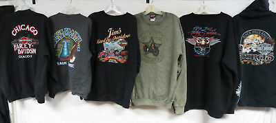 LOT OF 16 HARLEY DAVIDSON SWEATSHIRTS & HOODIES BIKER STURGIS VTG 90s MEN WOMEN