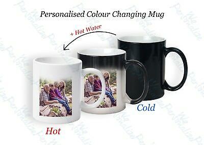 Personalised Mug custom Photo Text magic colour changing fathers day gift