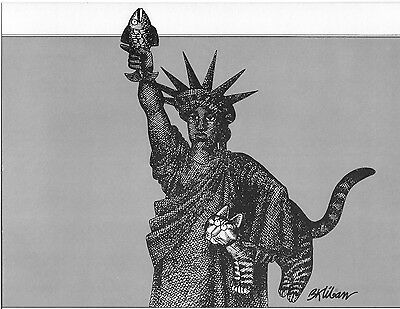 "Cat Art Print - ""The Liberty Cat"" +  other ORIGINAL Kliban Book Plates-Jan 1979"