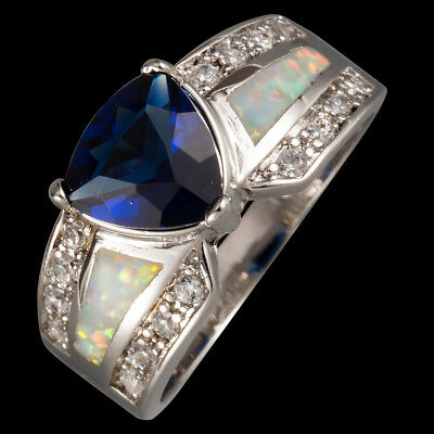 8x8 Trillion Blue Sapphire White Fire Opal CZ Silver Jewelry Ring US Size 7 8 9
