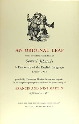 Samuel Johnson / An original leaf from copy of the first edition of 1981  1st ed