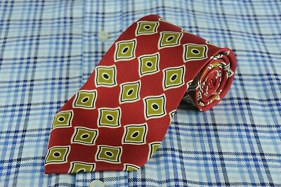 Hugo Boss Men's Tie Red Gold & Black Geometric Printed Silk Necktie 58 x 3.5 in.