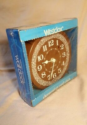 NOS Vintage Westclox Electric Wall Clock USA ~ WOODFIELD ~ Flowers Kitchen NEW