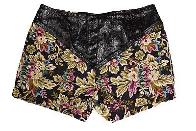 Deadstock 70s VINTAGE TAPESTRY Floral Leather High Waist Hot Pants Shorts 27-28""