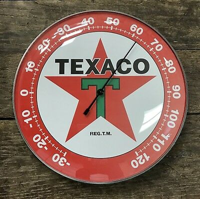 "TEXACO Oil Company Red Star Licensed Glass Dome 12"" Wall Thermometer"