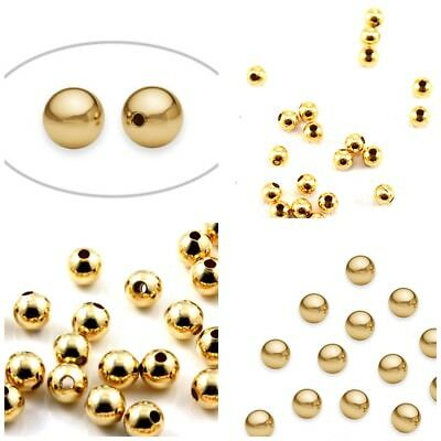 14K YELLOW GOLD-FILLED ROUND SEAMLESS BRIGHT BEADS 2.5-7mm Made in USA