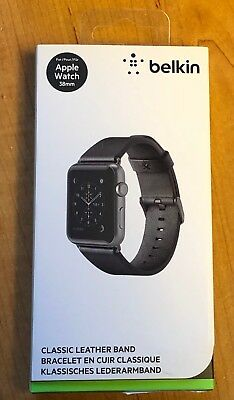 NEW Open Box Belkin Classic Leather Band for 38mm Apple Watch Series 1 2 3 Black