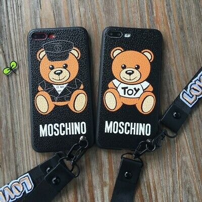 Cartoon Bear Soft Rubber Phone Case Cover With Lanyard F iPhone XS Max 6 7 8Plus