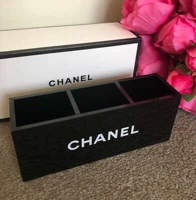 BNIB CHANEL Acrylic Makeup storage Brush Holder Vanity organiser box VIP