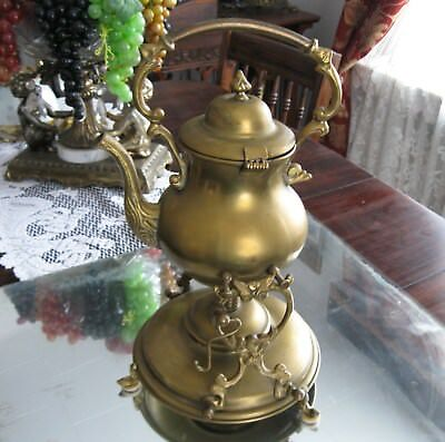 Antique Victorian  Heavy  Brass  Tipping Tea Pot With Stand And Burner Samovar
