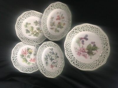 5 Schumann Germany Reticulated Fruit Green Trimmed Pierced Plates with Hangers