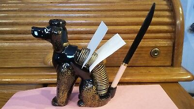 Vintage French Poodle Desk Caddy Dog Figurine Black Handpainted