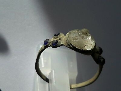 Superb Late Byzantine  bronze ring with engraved 1 white stone &  6 blue stones