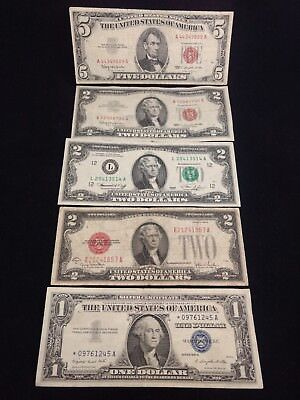 STAR Note $1 Blue Seal Silver Certificate $2 $5 Red Seal US (5) Bill Lot #401