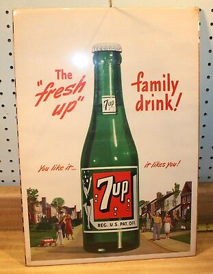 1946 7up heavy paper POSTER sign